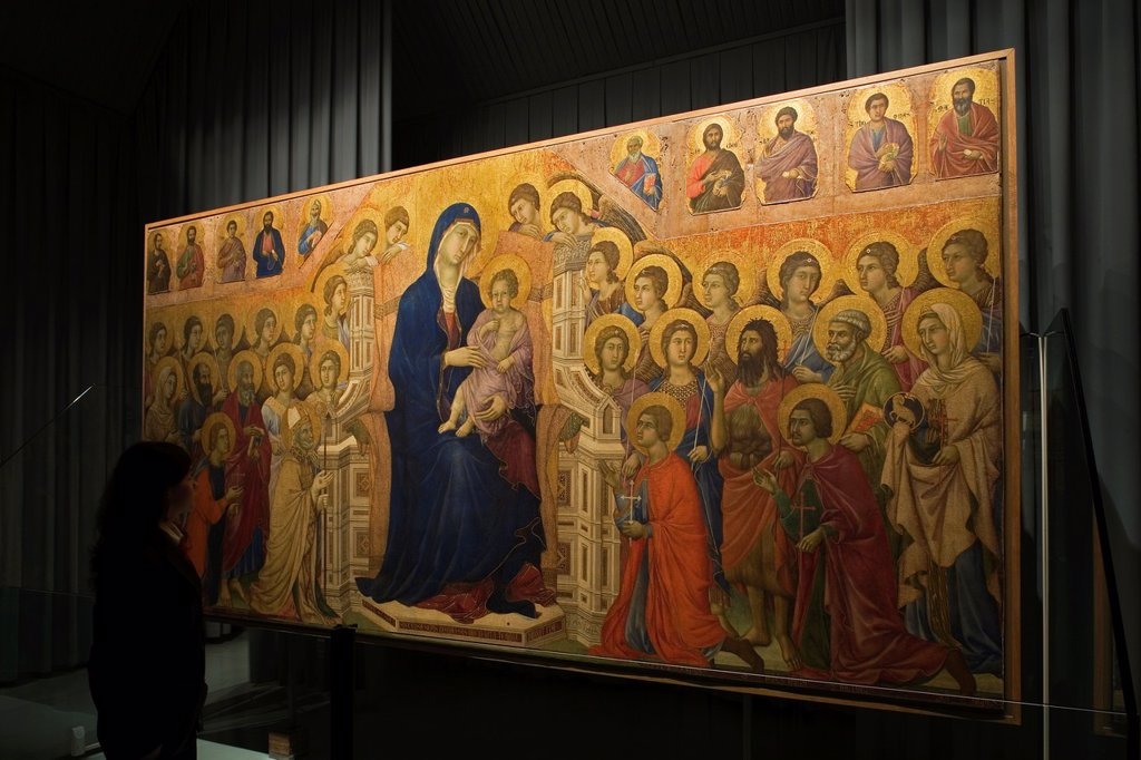 Stock Photo: 1566-1001696 europe, italy, tuscany, siena, museum opera metropolitana, show-room dedicated to duccio di buoninsegna, majesty by duccio di buoninsegna