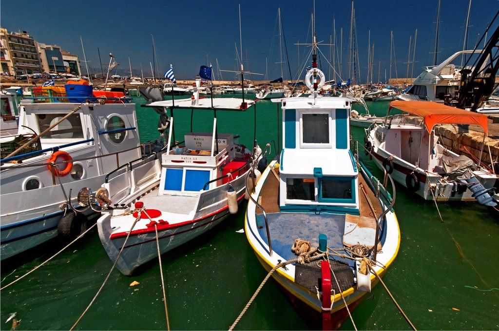 Heraklion harbour, Crete, Greece, Europe : Stock Photo