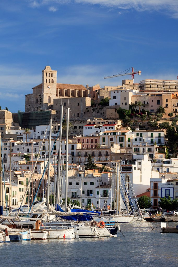 Spain, Balearic Islands, Ibiza, view of Ibiza old town UNESCO site, and Dalt Vila : Stock Photo