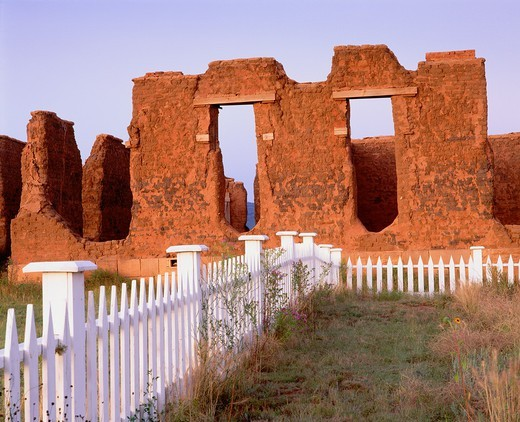 Ruins of U S Army hospital at Fort Union, Founded 1851 to guard travelers along the Santa Fe Trail Fort Union National Monument, New Mexico : Stock Photo