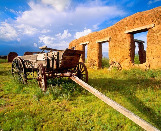 Mechanic´s Yard with historic commercial wagon, Fort Union Founded 1851 to guard travelers along the Santa Fe Trail Fort Union National Monument, New Mexico : Stock Photo