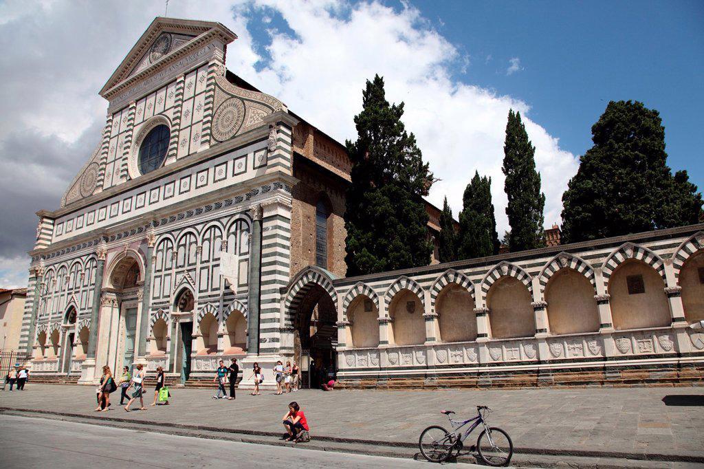 Facade of the Basilica of Santa Maria Novella, Florence, Tuscany, Italy, Europe : Stock Photo