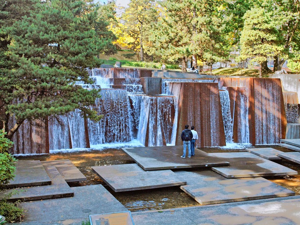 Stock Photo: 1566-1003096 Ira Keller Fountain in downtown Portland, Oregon Originally named the Forecourt Fountain because it is located across the street from the Civic Auditorium which has since been named the Keller Auditorium Ira Keller was head of the Portland Development Com. Ira Keller Fountain in downtown Portland, Oregon  Originally named the Forecourt Fountain because it is located across the street from the Civic Auditorium which has since been named the Keller Auditorium  Ira Kellerwas head of the Portland De