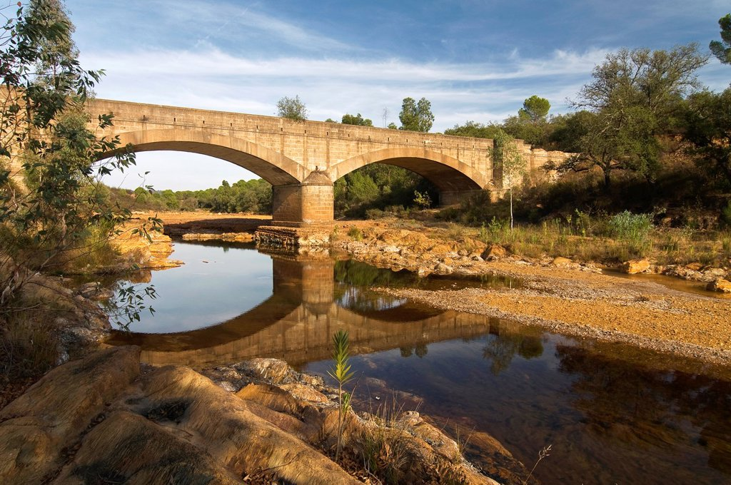 Stock Photo: 1566-1003528 River of the Fresnera and bridge  El Cerro del Andevalo  Huelva-province  Spain