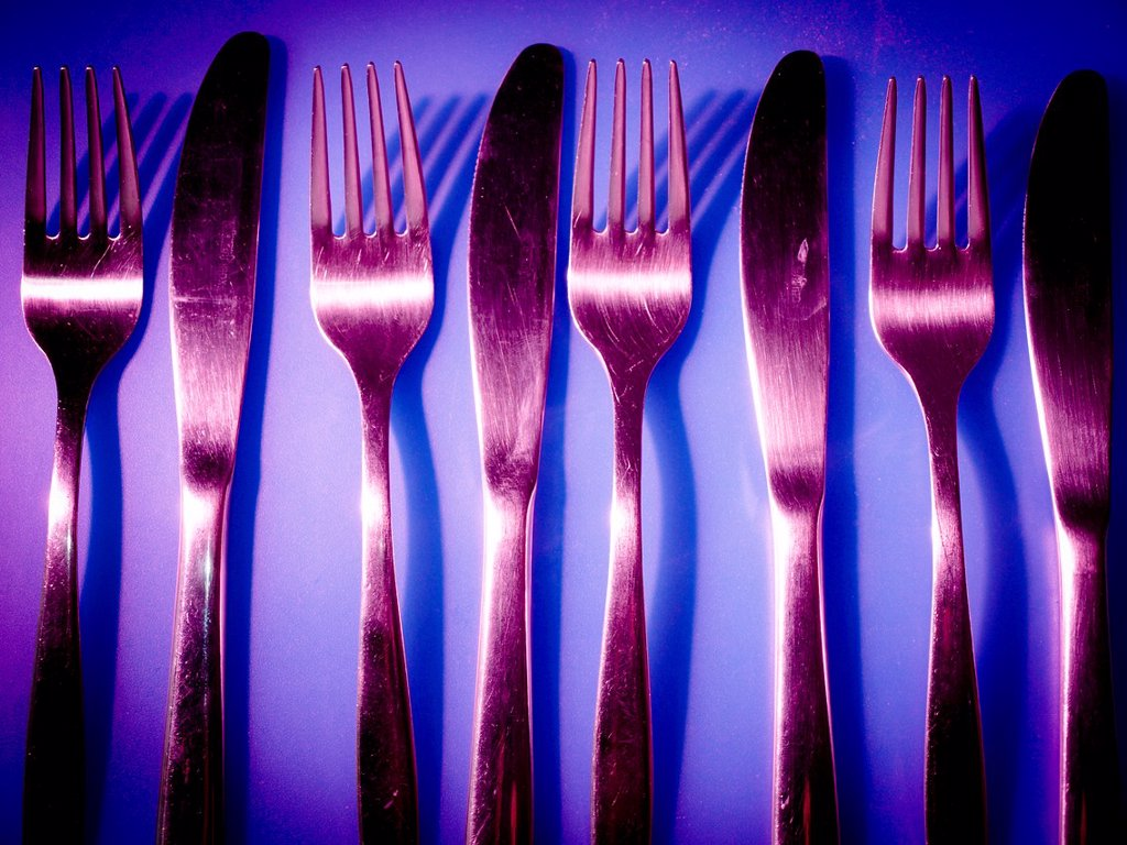 Forks and knives. : Stock Photo