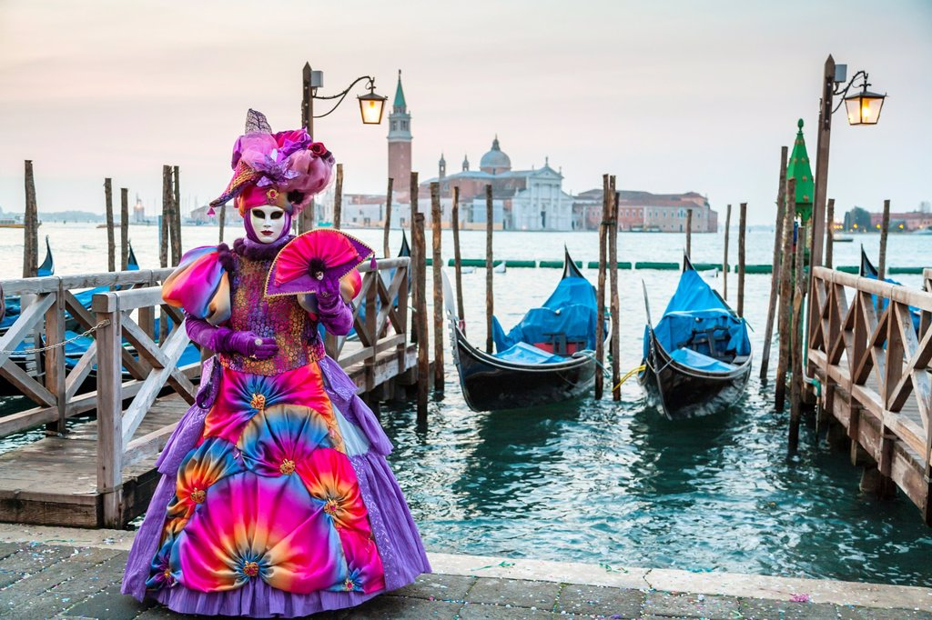 Stock Photo: 1566-1004469 A masked woman at the carnival in Venice, Italy, Europe