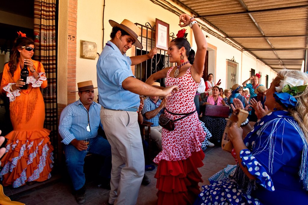 Stock Photo: 1566-1004799 Traditional Flamenco Dancing, El Rocio Festival, Huelva Province, Andalucia, Spain
