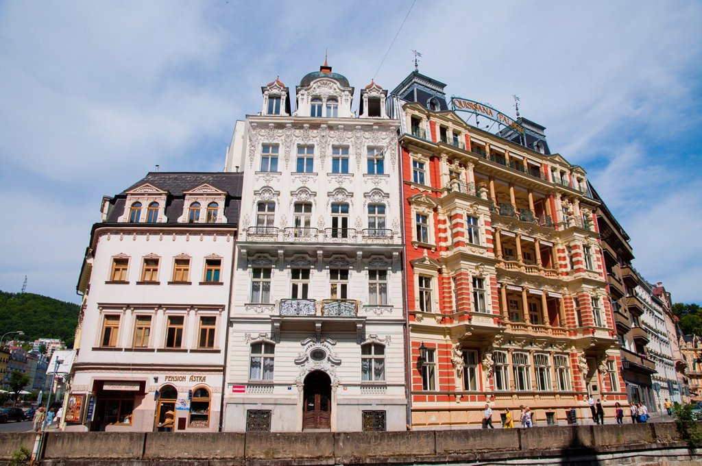 Stock Photo: 1566-1005046 Houses along Marianskolazenska riverside street Karlovy Vary spa town Czech Republic Europe