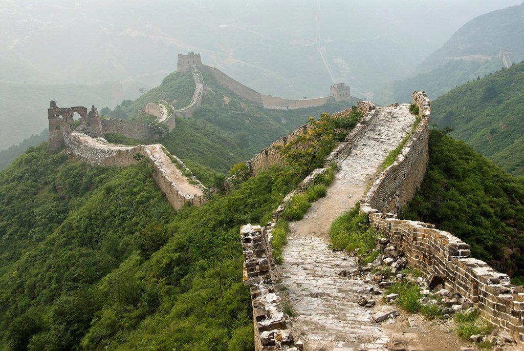 Stock Photo: 1566-1005307 Great wall of China from Jinshanling to Simatai, Hebei Province, China.