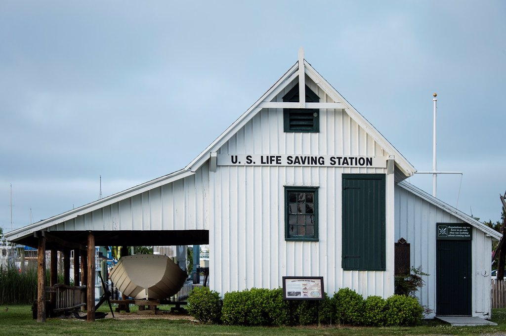Stock Photo: 1566-1005403 Historic US Life Saving Station, Lewes, Delaware, USA