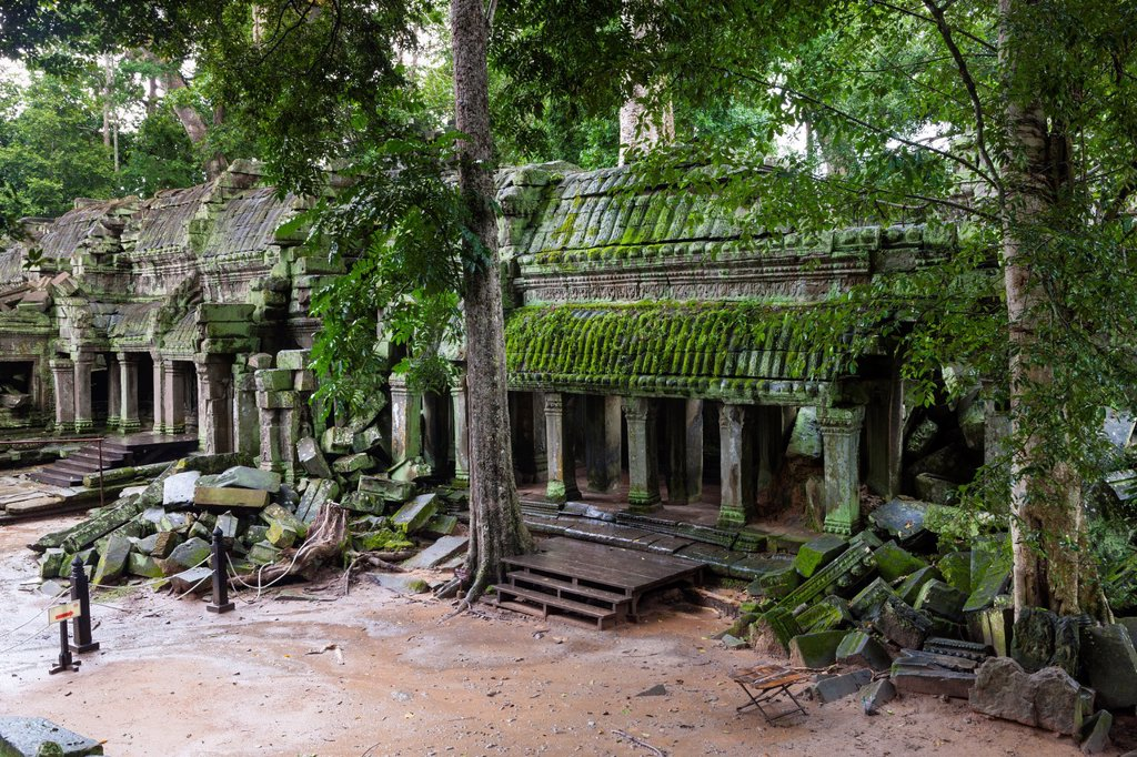 Stock Photo: 1566-1005511 Ta Prohm is the modern name of a temple at Angkor, Siem Reap Province, Cambodia, built in the Bayon style largely in the late 12th and early 13th centuries and originally called Rajavihara Located approximately one kilometre east of Angkor Thom and on the. Ta Prohm is the modern name of a temple at Angkor, Siem Reap Province, Cambodia, built in the Bayon style largely in the late 12th and early 13th centuries and originally called Rajavihara Located approximately one kilometre east of Angkor Tho