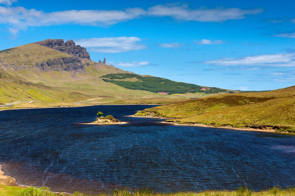 Stock Photo: 1566-1005607 Loch Fada and the Storr and Old Man rock, Isle of Skye, Inner Hebrides, Scotland, United Kingdom, Europe