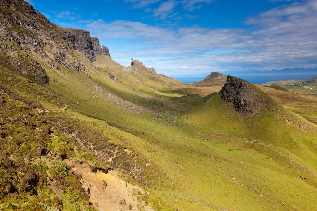 The Quiraing, a landslip on the eastern face of Meall na Suiramach, the northernmost summit of the Trotternish Ridge on the Isle of Skye, Scotland, United Kingdom, Europe : Stock Photo