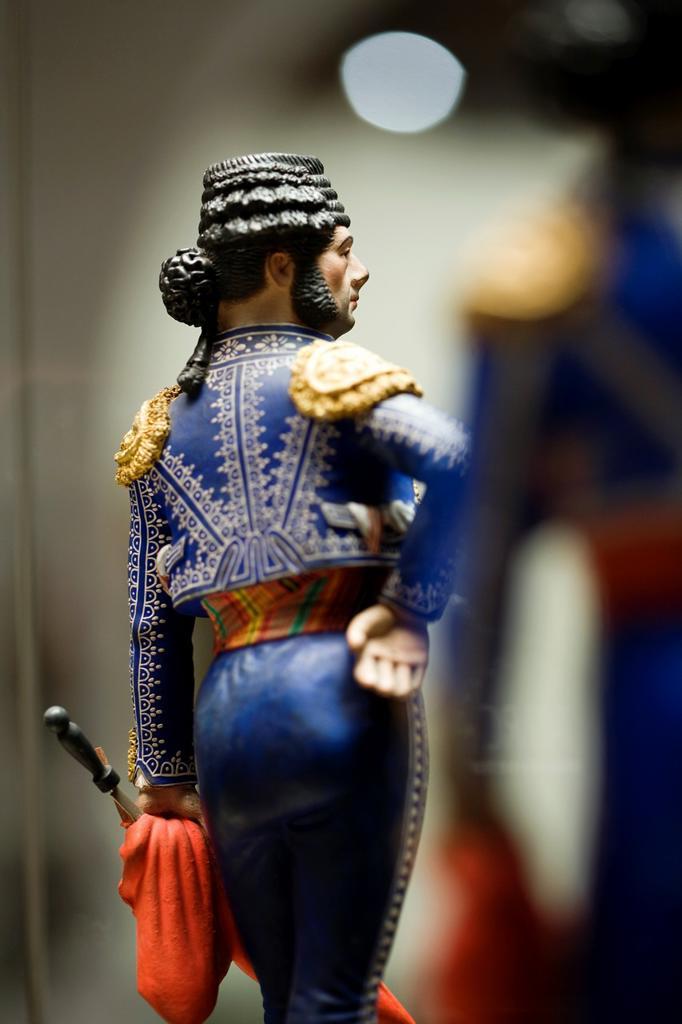 Ceramics bullfighter figure, Museum of Popular Arts of Malaga, Andalusia, Spain : Stock Photo
