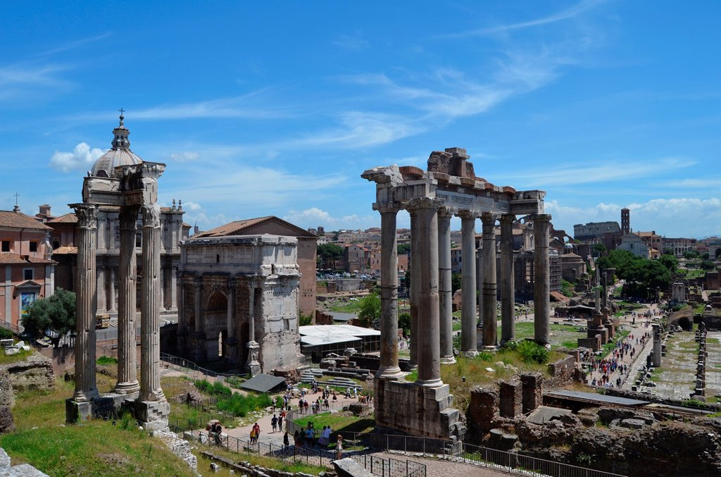 Overview of the Roman Forum : Stock Photo