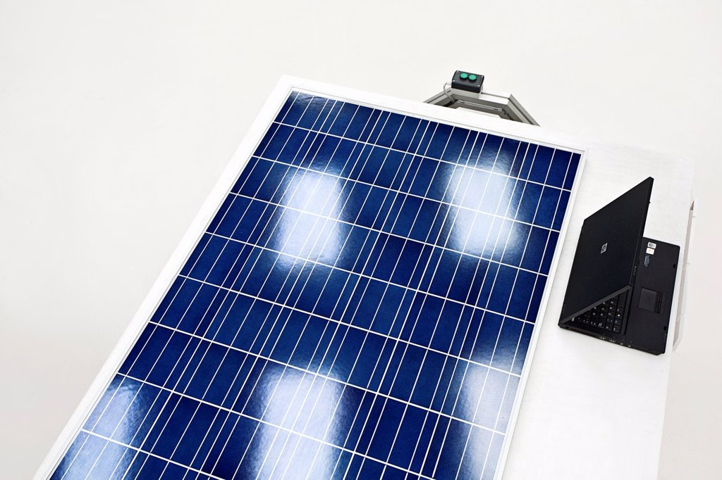 Solar panel in quality control : Stock Photo