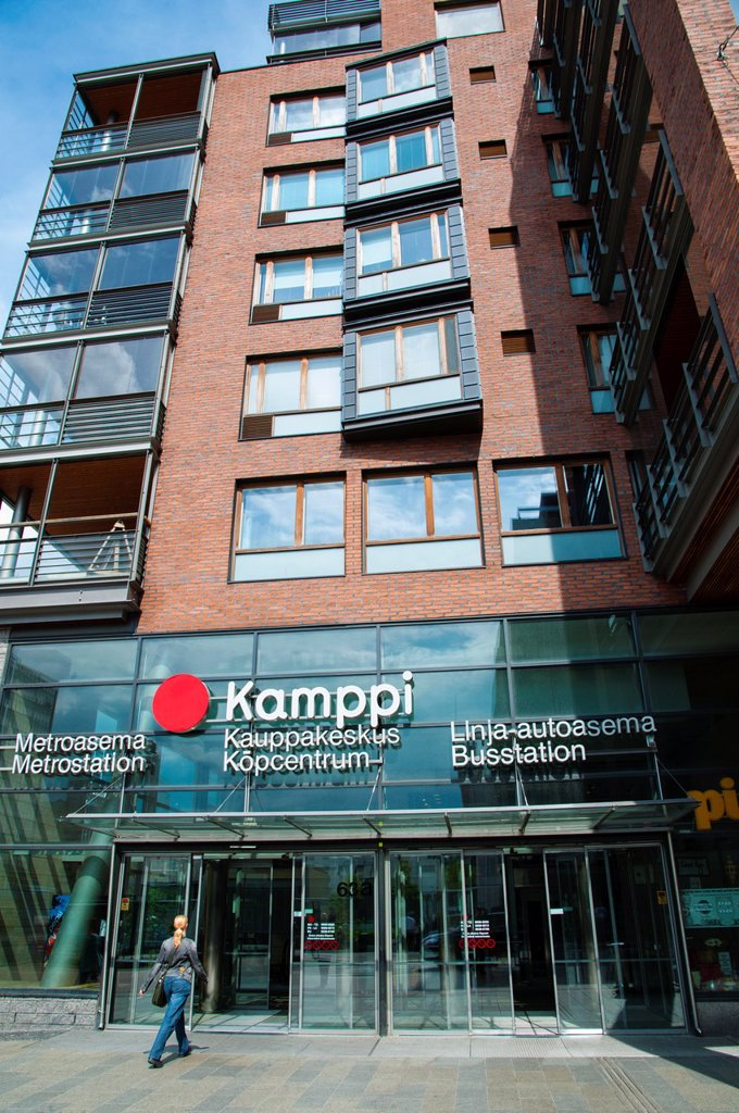 Stock Photo: 1566-1006799 Kamppi kauppakeskus metro station shopping centre bus station complex exterior central Helsinki Finland Europe
