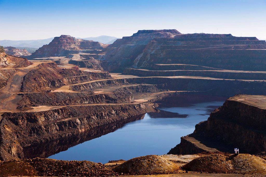 Mining waste around Minas de Rio Tinto, Huelva Province, Andalusia, southern Spain : Stock Photo