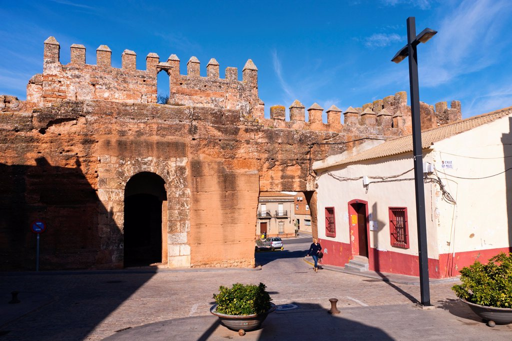 Stock Photo: 1566-1007017 Niebla, Huelva Province, Andalusia, southern Spain  Gate through the old walls