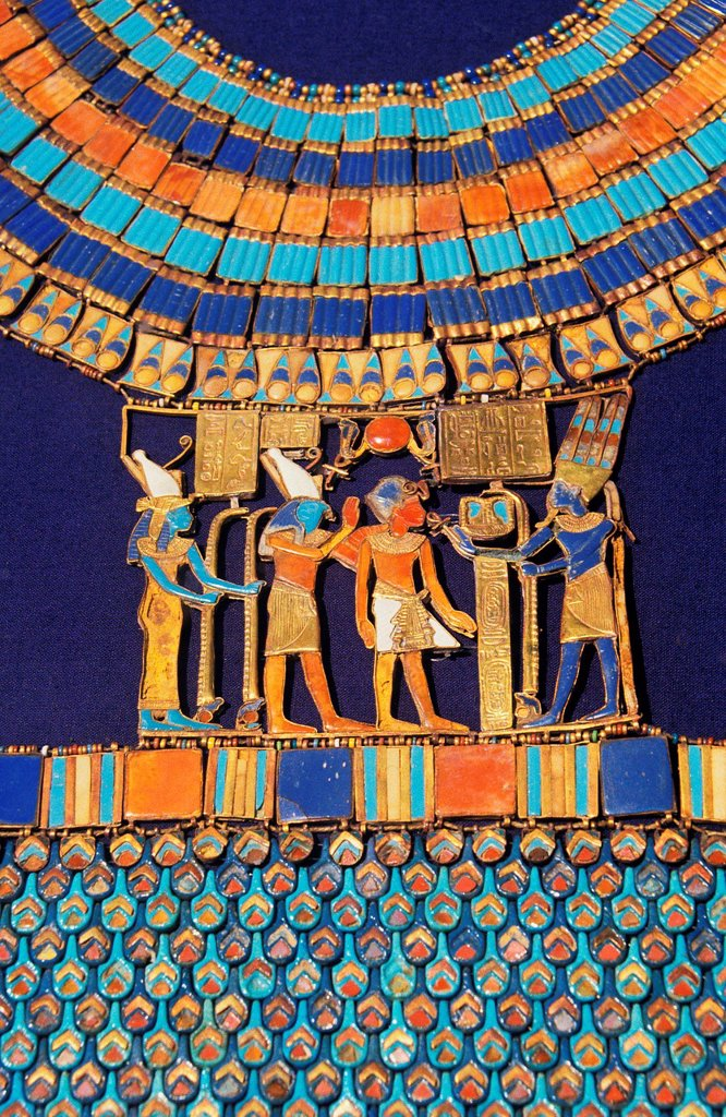 Stock Photo: 1566-1007030 Pectoral  The god Amun-Re receives the pharaoh  Tutankhamun´s treasure  Museum of Egyptian Antiquities  Cairo  Egypt