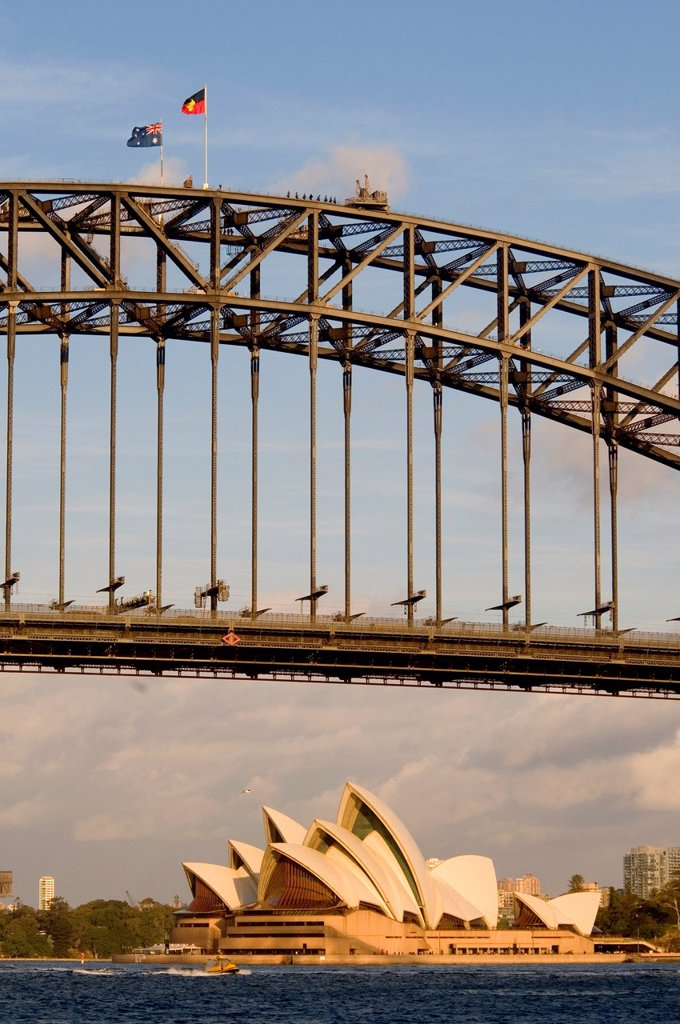 Stock Photo: 1566-1007124 Sydney Harbour Bridge and Opera House, with Australian and Aboriginal flags flying from the top of the span