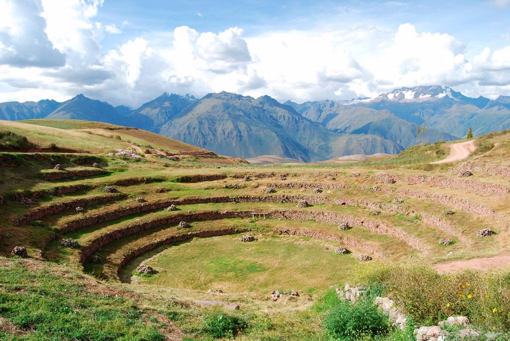 View of Moray in the Urubamba River valley : Stock Photo