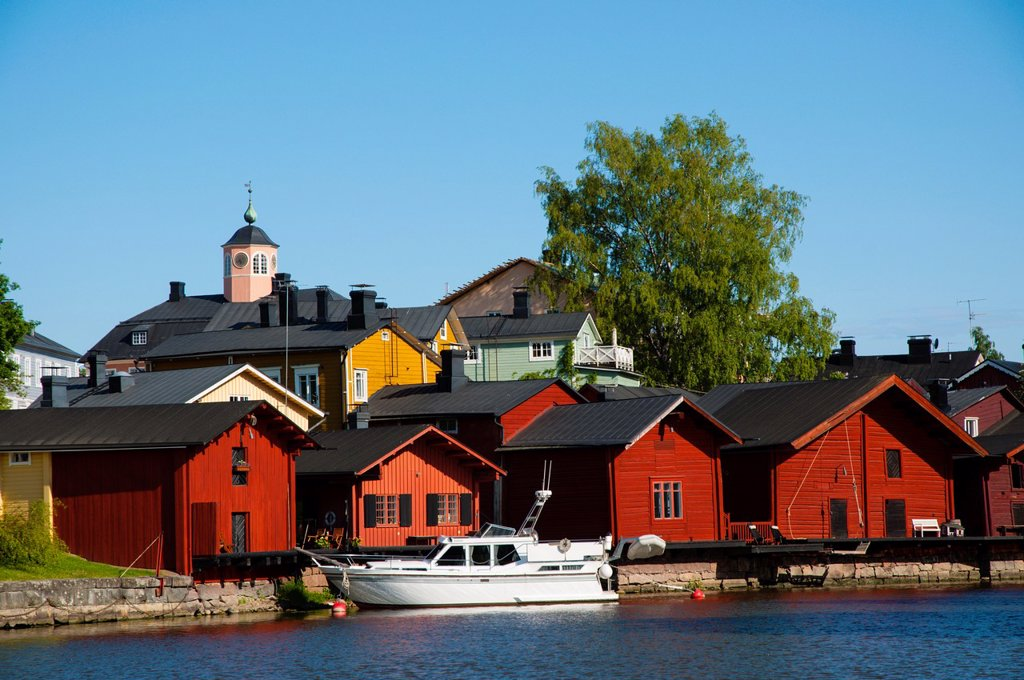 Old town by the river Porvoo Uusimaa province Finland northern Europe : Stock Photo