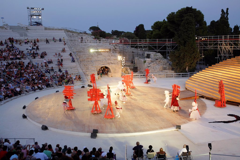 Stock Photo: 1566-1007752 Performance of ´Birds´ by Aristophanes at Greek Theater in Syracuse, Sicily, Italy