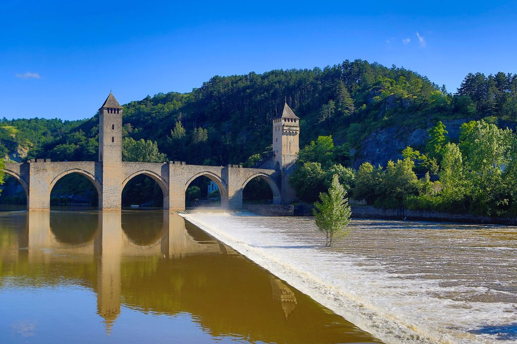 France , Cahors City , Louis Philippe Medieval Bridge : Stock Photo