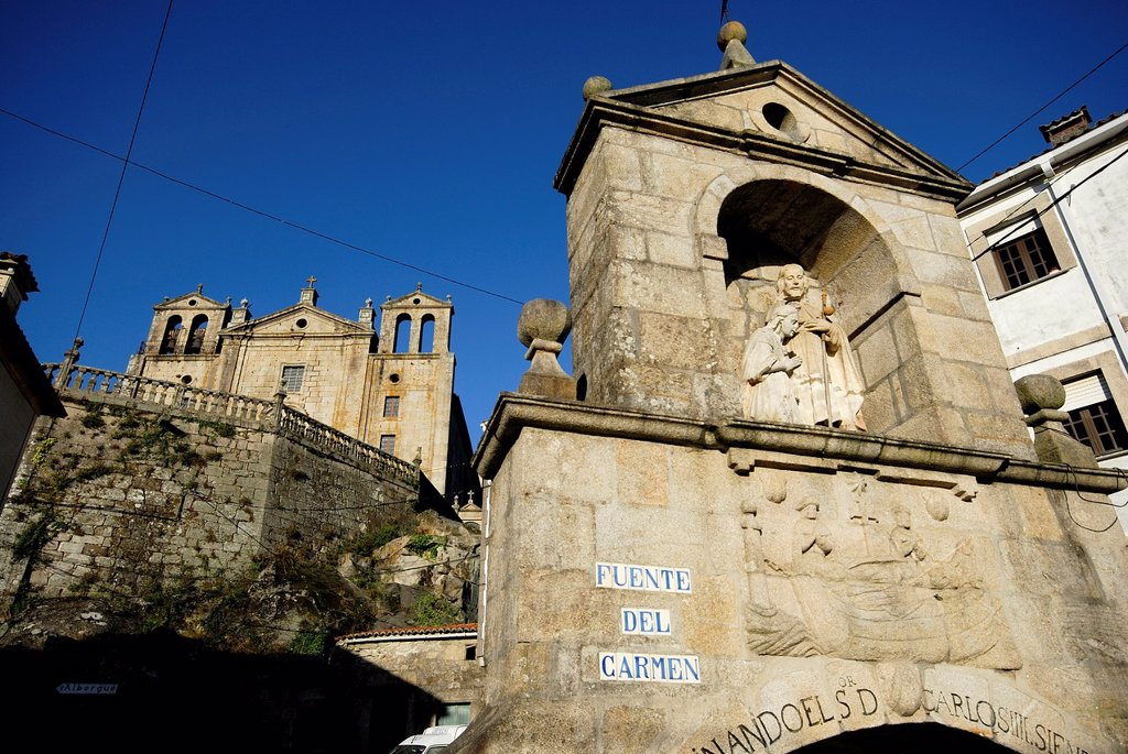 Stock Photo: 1566-1008247 Fountain and monastery of the Carmen in Padron, A Coruña, Spain