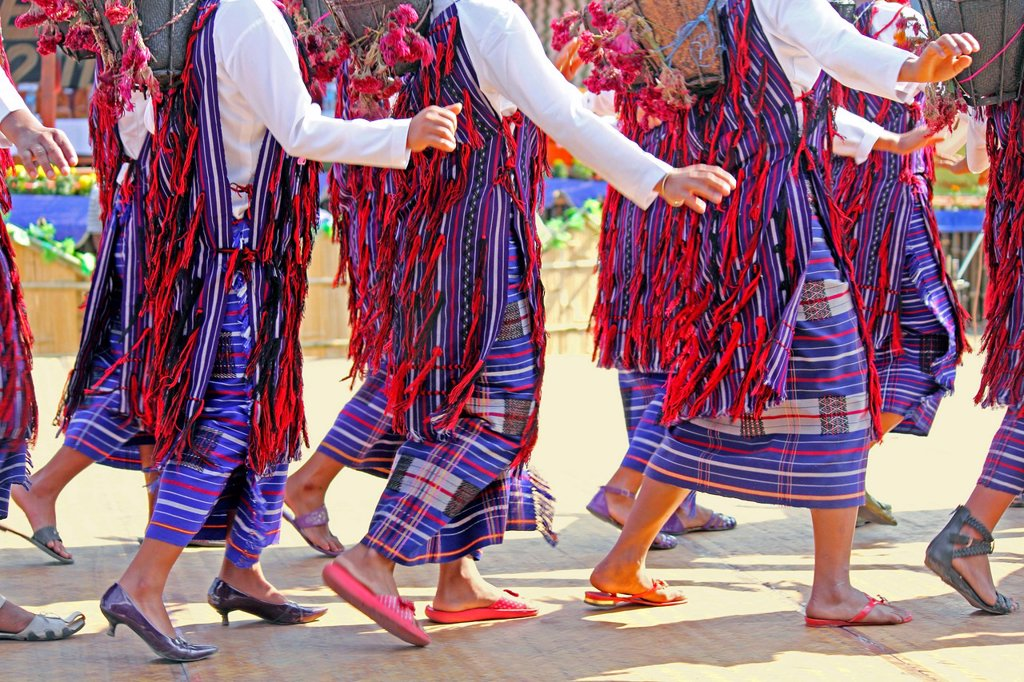 Tangsa Girls, Pangwa performing dance at Namdapha Eco Cultural Festival, Miao, Arunachal Pradesh, India : Stock Photo