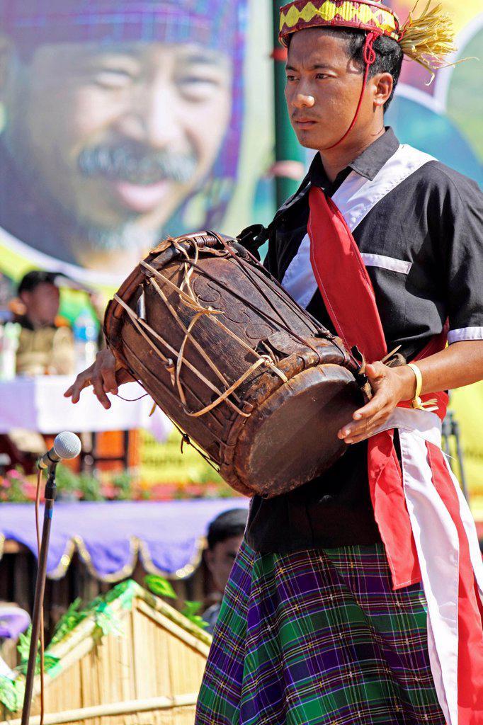 Stock Photo: 1566-1008308 Tangsa, Lungchang Tribes performing dance at Namdapha Eco Cultural Festival, Miao, Arunachal Pradesh, India