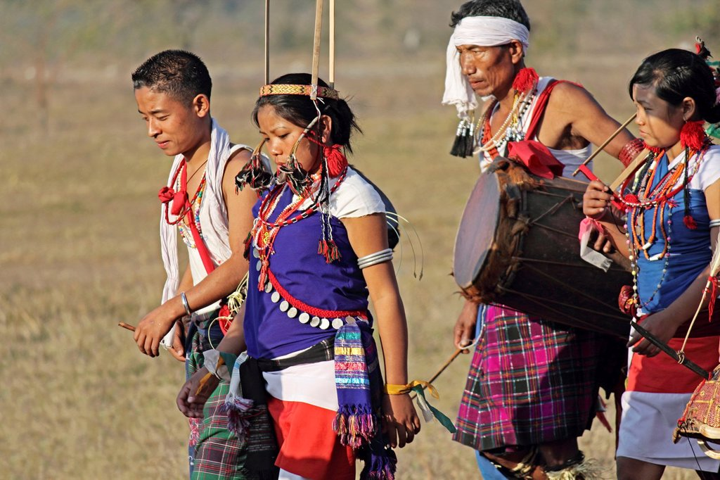 Stock Photo: 1566-1008310 Tangsa, Lungchang Tribes performing dance at Namdapha Eco Cultural Festival, Miao, Arunachal Pradesh, India