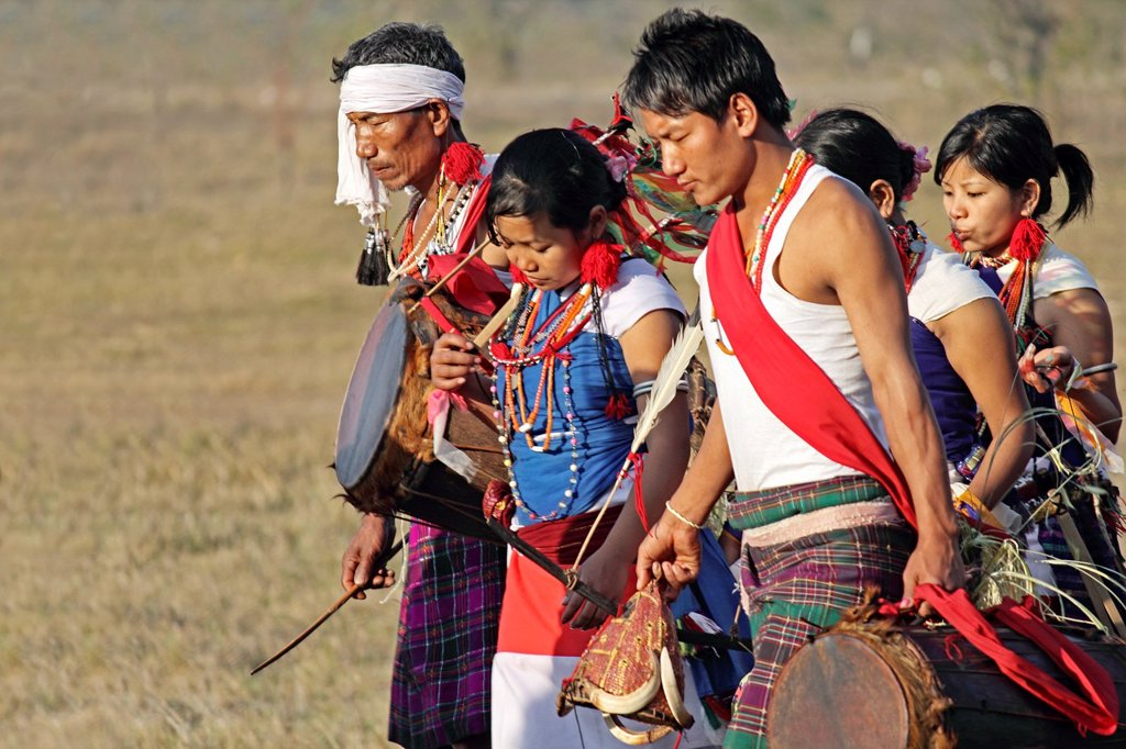 Tangsa, Lungchang Tribes performing dance at Namdapha Eco Cultural Festival, Miao, Arunachal Pradesh, India : Stock Photo
