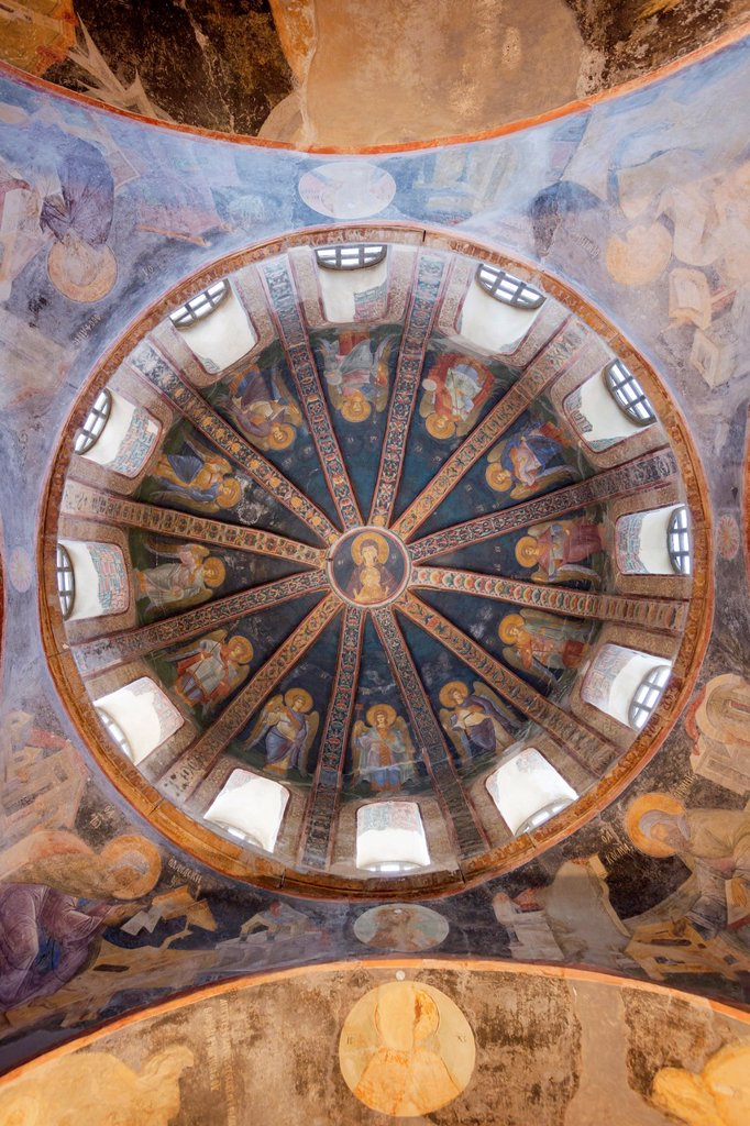 Istanbul, Turkey  Byzantine Church of St  Saviour in Chora  The Virgin and Child fresco in the dome of the parecclesion : Stock Photo