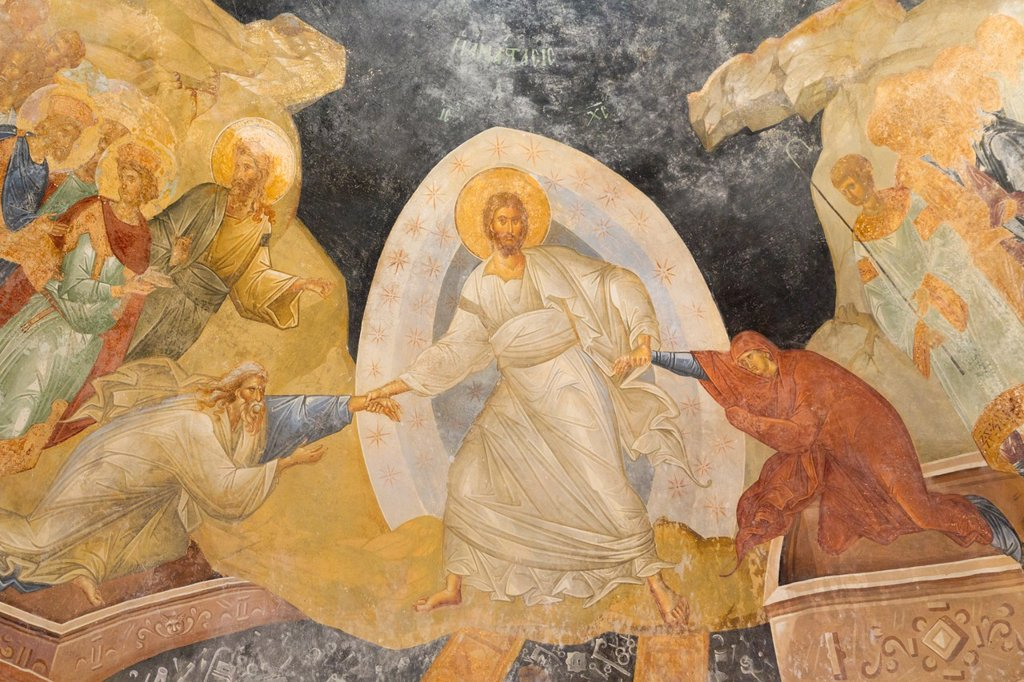 Stock Photo: 1566-1008385 Istanbul, Turkey  Byzantine Church of St  Saviour in Chora  The Anastasis, or Resurrection, fresco in the parecclesion  Christ dragging Adam and Eve from their tombs