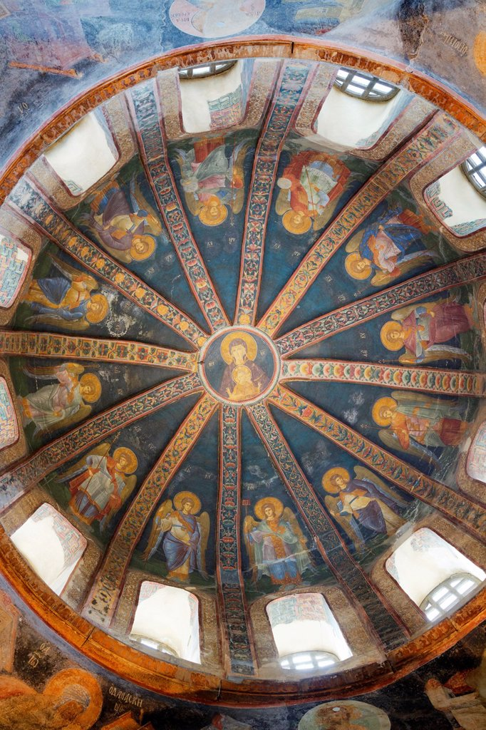 Stock Photo: 1566-1008387 Istanbul, Turkey  Byzantine Church of St  Saviour in Chora  The Virgin and Child fresco in the dome of the parecclesion