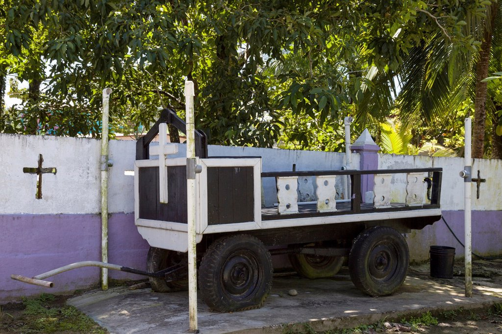 Funeral cart at the municipal cemetary on Isla Colon, Bocas del Toro, Panama : Stock Photo