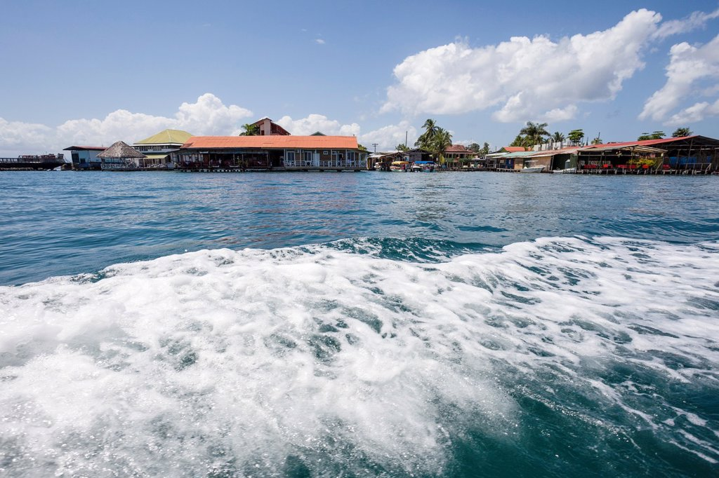 View of Isla Colon from water taxi, Bocas del Toro, Panama : Stock Photo