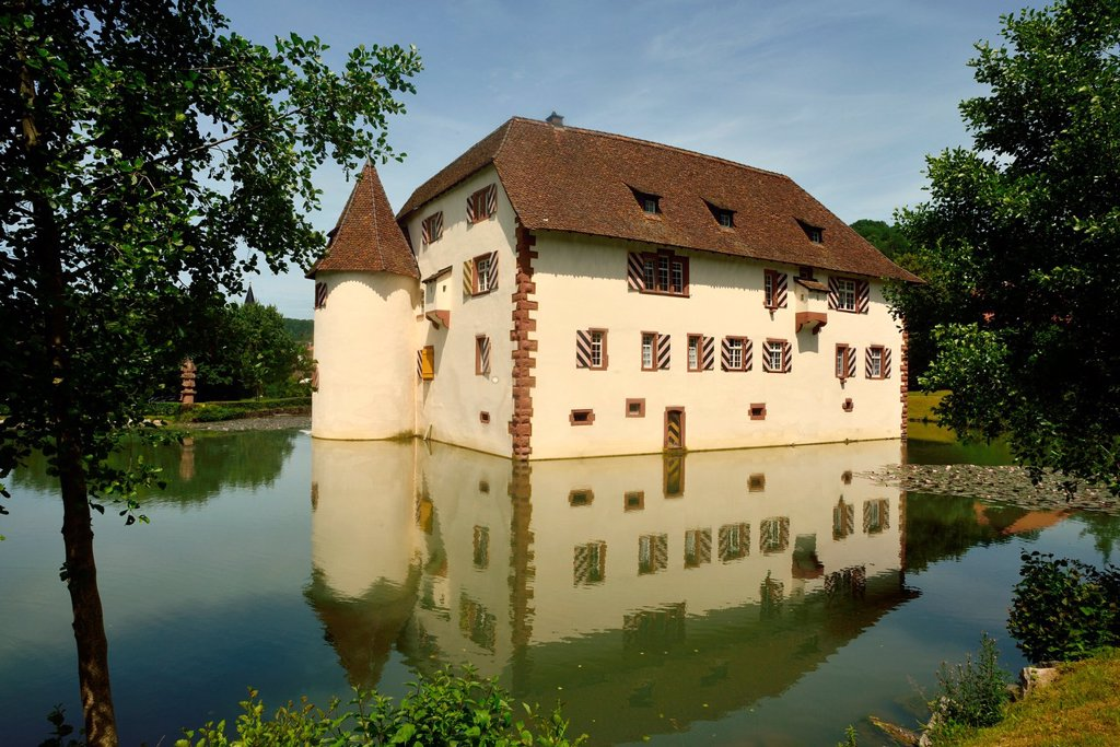 Water palace, now top restaurant and townhall, Inzlingen, Germany : Stock Photo