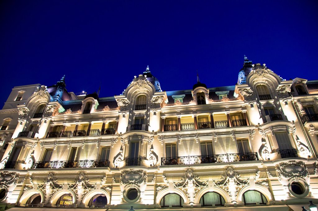Hotel de Paris at Place du Casino in Monte Carlo, Principality of Monaco, Europe : Stock Photo