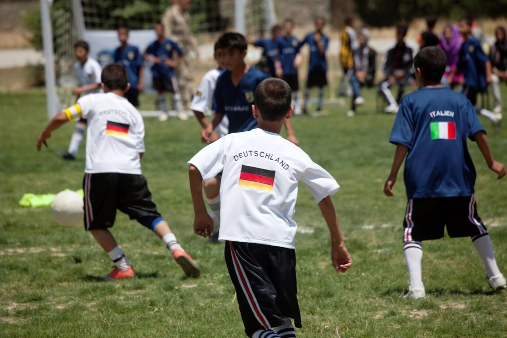 Stock Photo: 1566-1009783 The German army organised a mini world cup tournament in Kabul for Afghan children  The teams played against each other, Turkey won the mini world cup