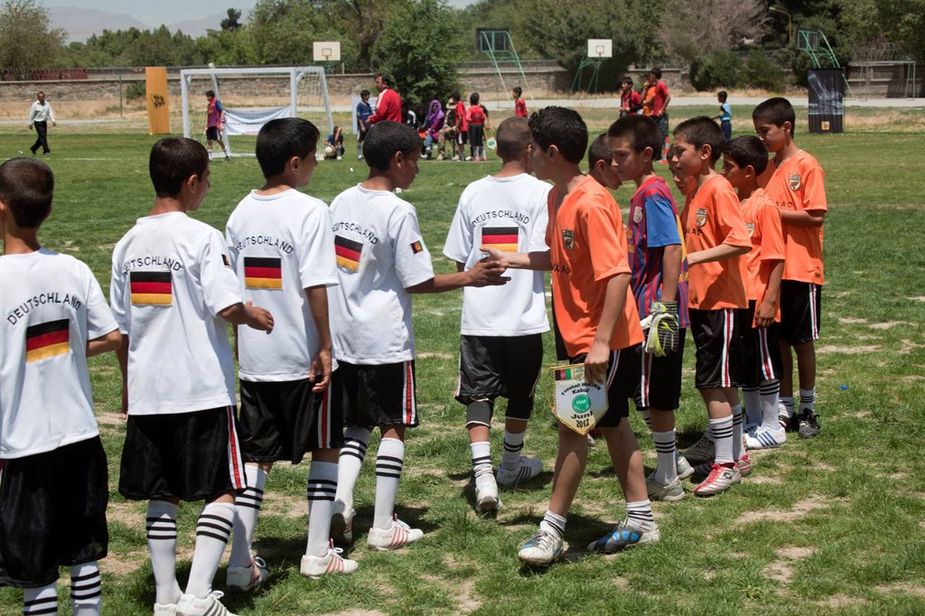 Stock Photo: 1566-1009784 The German army organised a mini world cup tournament in Kabul for Afghan children  The teams played against each other, Turkey won the mini world cup