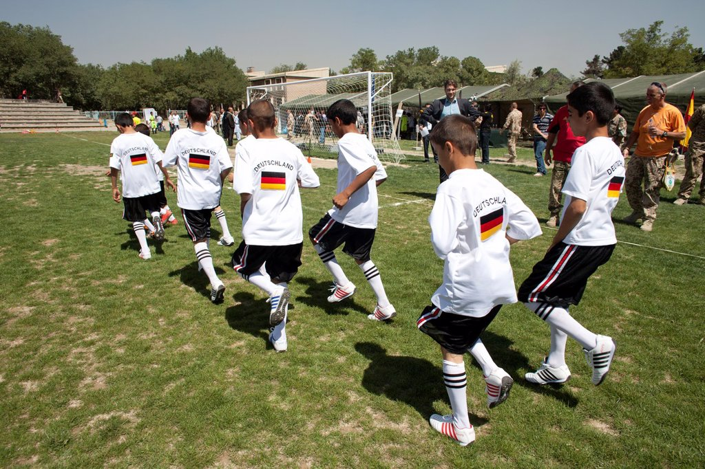 Stock Photo: 1566-1009787 The German army organised a mini world cup tournament in Kabul for Afghan children  The teams played against each other, Turkey won the mini world cup
