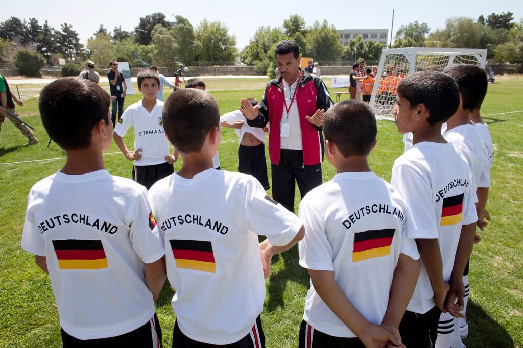 Stock Photo: 1566-1009788 The German army organised a mini world cup tournament in Kabul for Afghan children  The teams played against each other, Turkey won the mini world cup