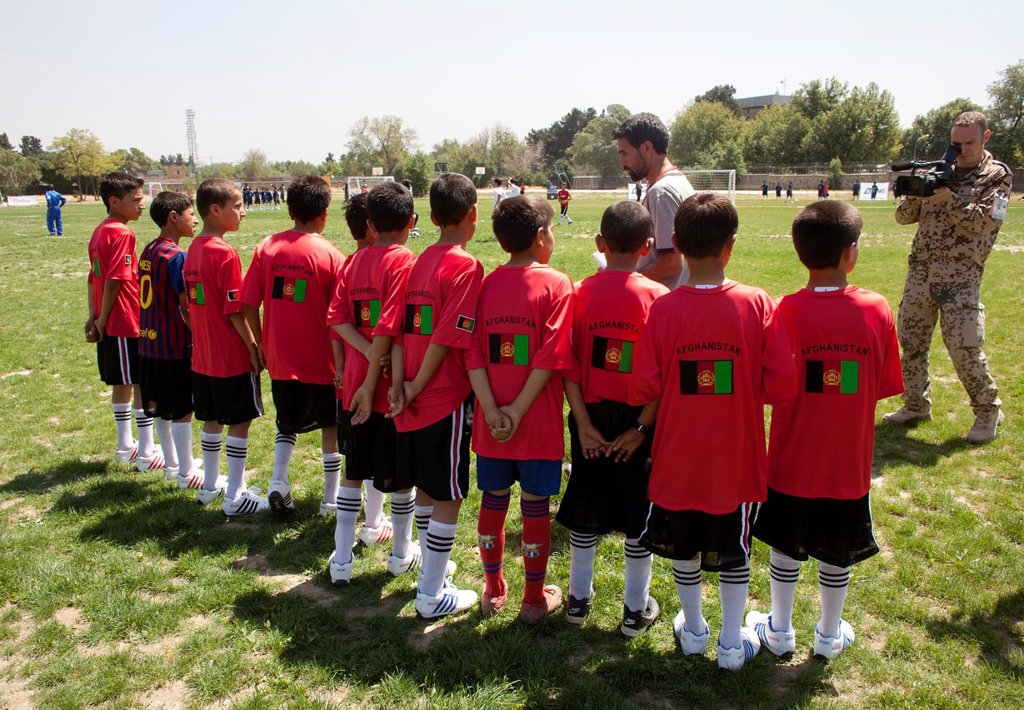 Stock Photo: 1566-1009791 The German army organised a mini world cup tournament in Kabul for Afghan children  The teams played against each other, Turkey won the mini world cup
