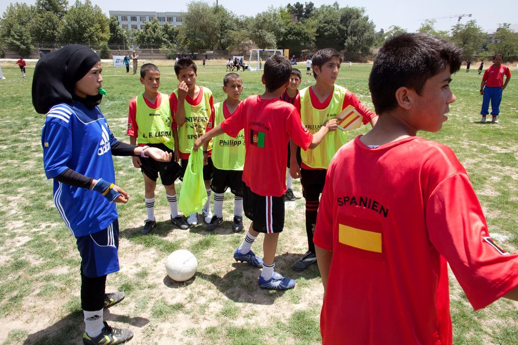 Stock Photo: 1566-1009795 The German army organised a mini world cup tournament in Kabul for Afghan children  The teams played against each other, Turkey won the mini world cup