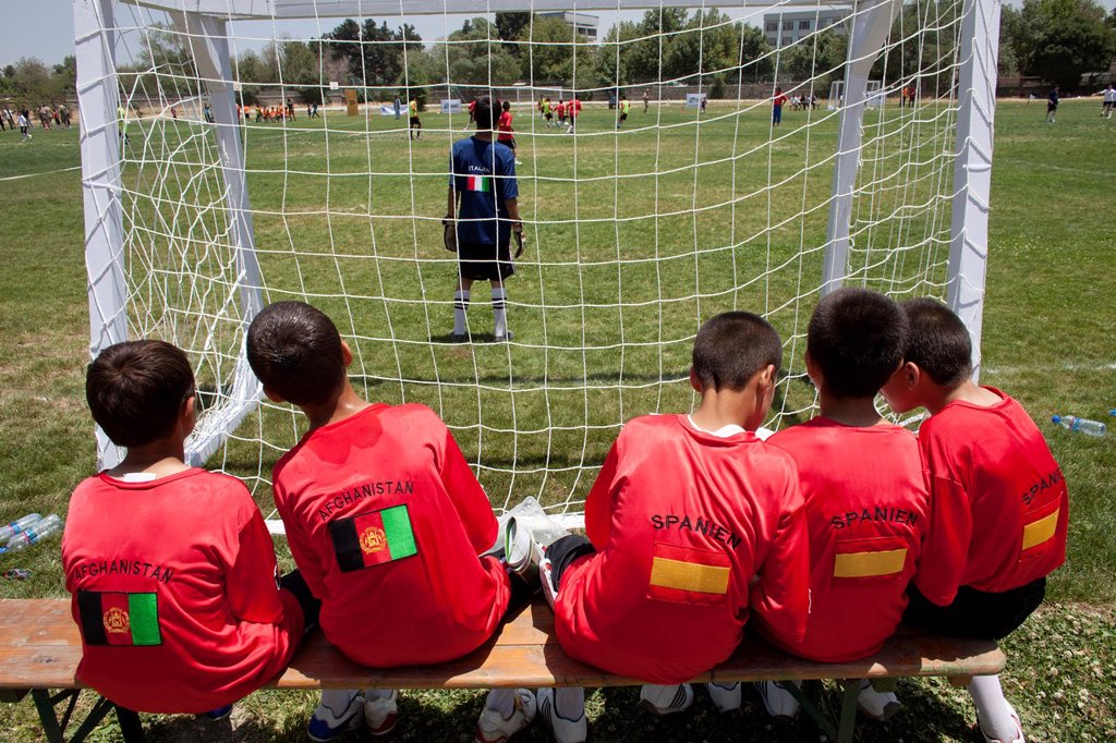 Stock Photo: 1566-1009796 The German army organised a mini world cup tournament in Kabul for Afghan children  The teams played against each other, Turkey won the mini world cup