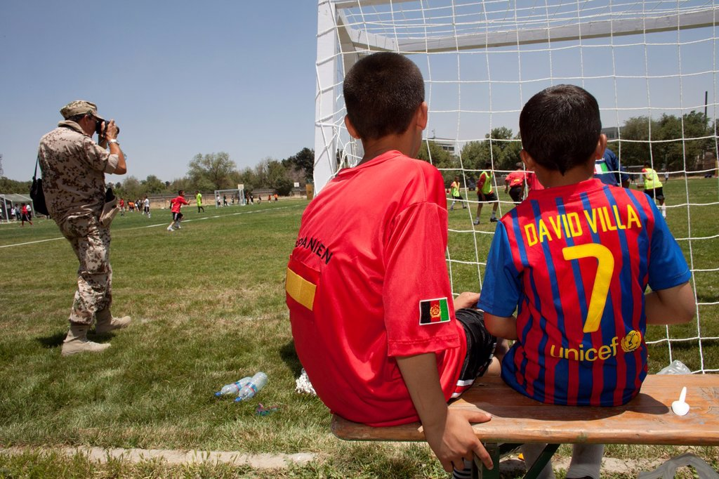 Stock Photo: 1566-1009797 The German army organised a mini world cup tournament in Kabul for Afghan children  The teams played against each other, Turkey won the mini world cup