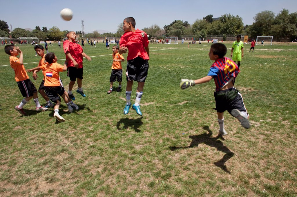 Stock Photo: 1566-1009798 The German army organised a mini world cup tournament in Kabul for Afghan children  The teams played against each other, Turkey won the mini world cup